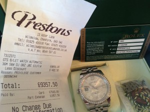 SOLD - Genuine Rolex Oyster Perpetual Datejust 2014/15 model - Immaculate condition with 52pcs diamond bezel.